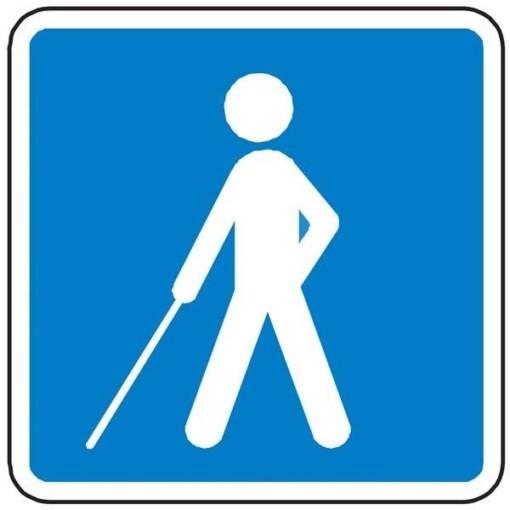E24 Vejledning for synshandicappede. Skilt.