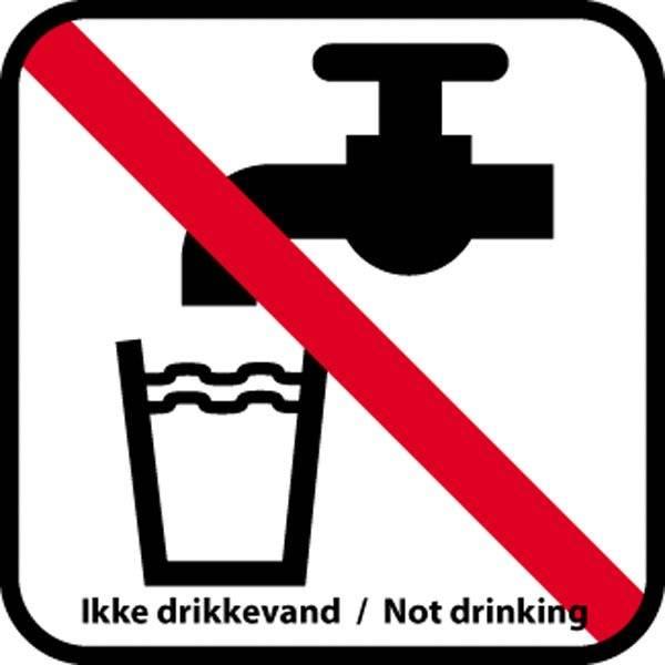 Vand forbud med tekst. - piktogram skilt