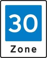E53 Område med fartdæmpning. Zone skilt