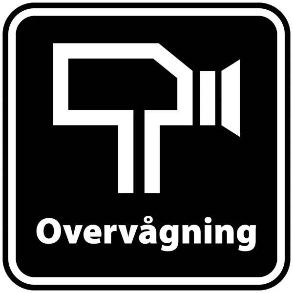 Overvågning piktogram sortbund. - piktogram skilt