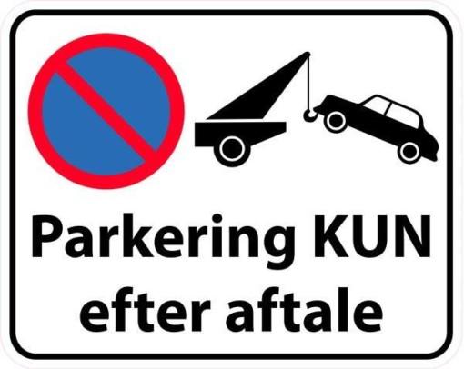 Parkering kun efter aftale. Skilt