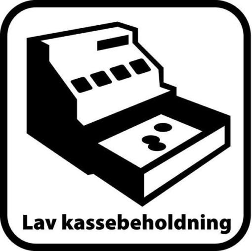 Lav kassebeholdning. Piktogram skilt