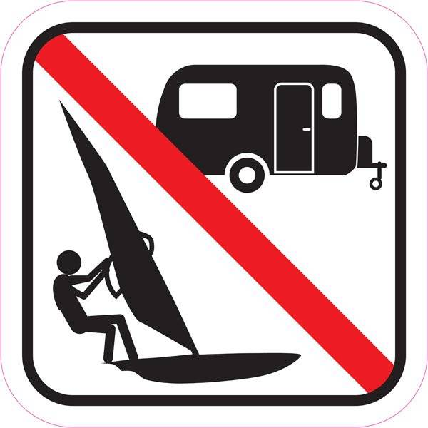 Camping og surfing forbudt skilt