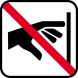 Ikke røre - piktogram. skilt