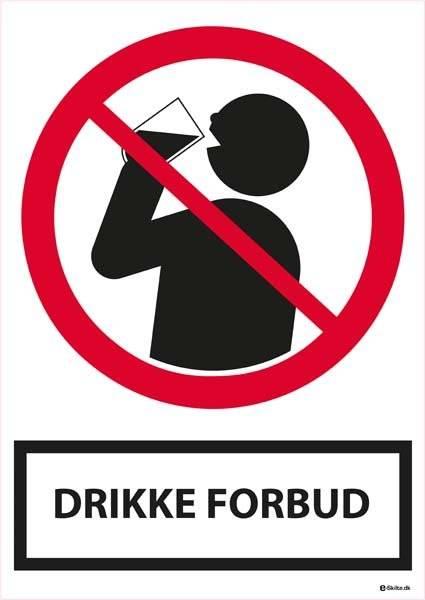 Drikke forbudsskilt med tekst