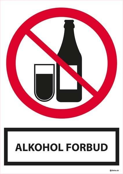 Alkohol forbudsskilt med tekst. Skilt