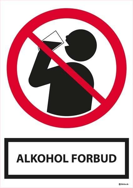 Alkohol forbudsskilt med tekst