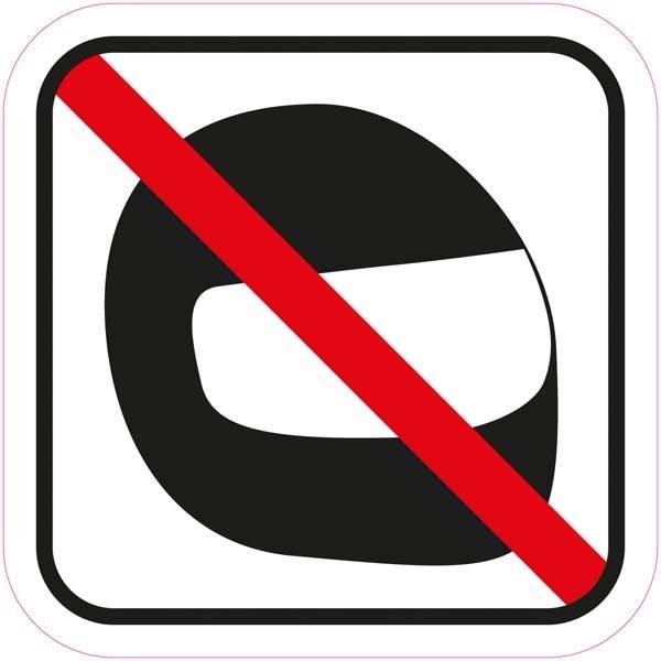 Hjelm forbud piktogram skilt