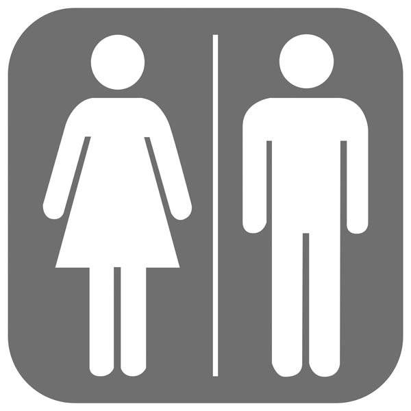 Toilet Damer herre grå. Piktogram skilt