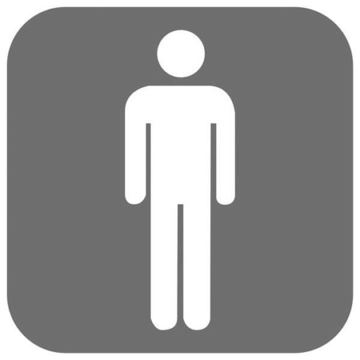 Toilet Herre grå. Piktogram skilt
