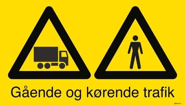 Gående og kørende lastbil trafik. Skilt