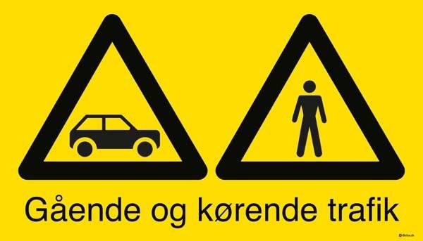 Gående og kørende bil trafik. Skilt