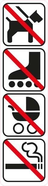 Forbuds pic hund rulleskøjter barnevogn røg. Skilt