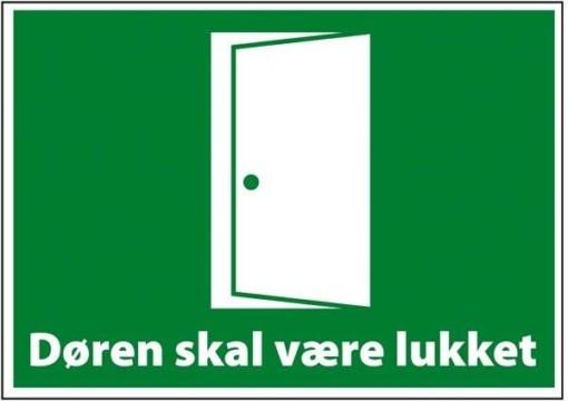Døren skal være lukket. Redningsskilt
