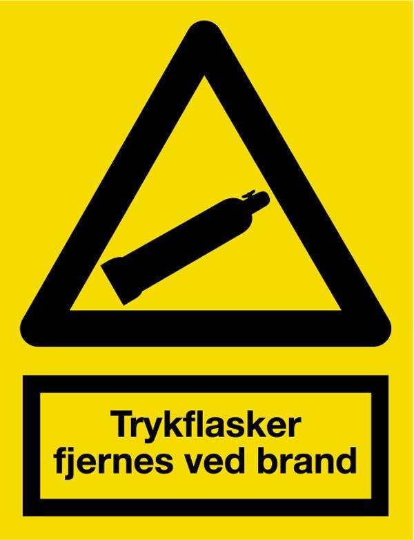 Trykflasker fjernes ved brand. Skilt