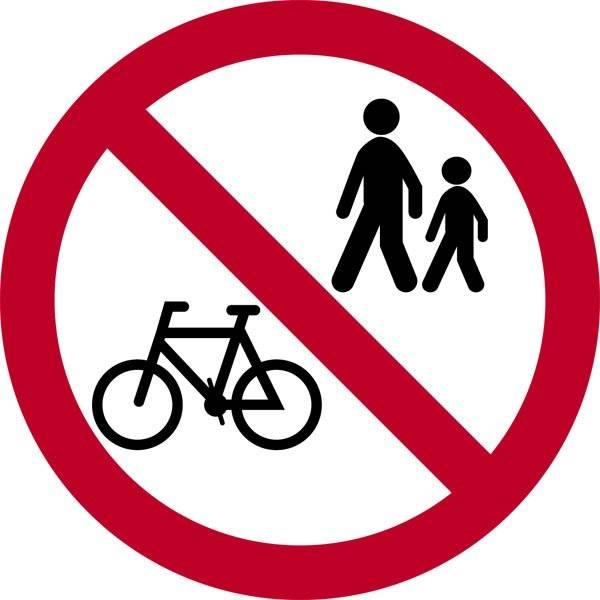 Gang og cykling forbudt. Skilt