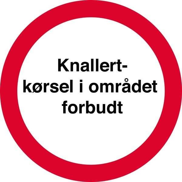 Knallertkørsel i området forbudt. Forbudsskilt