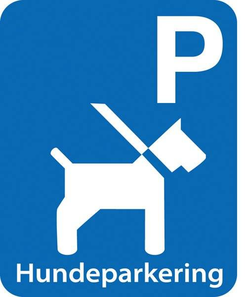 Parkerings skilt: P hundeparkering.