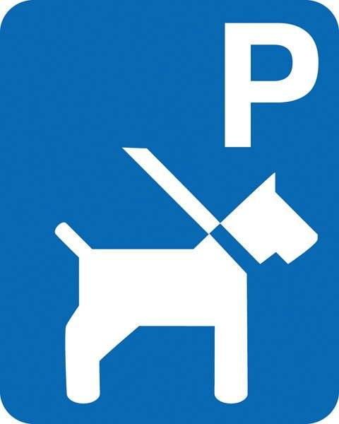 Parkerings skilt: P hund. Skilt
