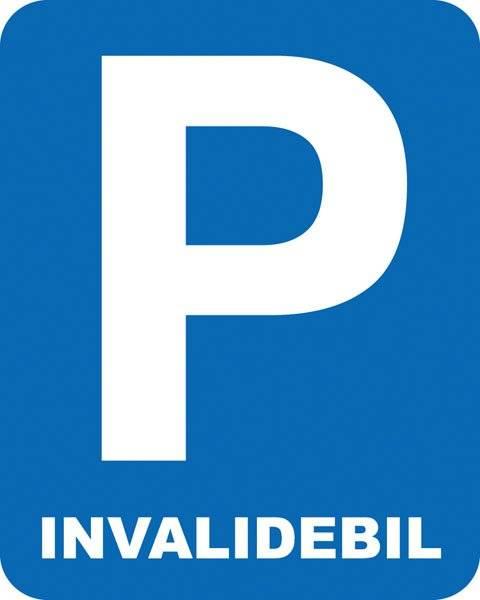 Parkerings skilt P invalidebil. Parkeringsskilt