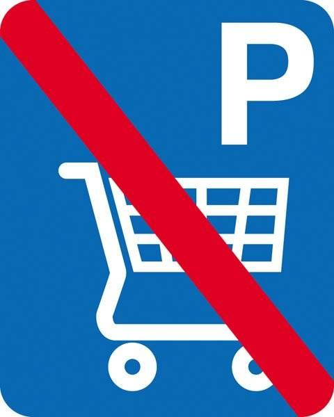 Parkerings skilt P indkøbsvogn forbudt skilt