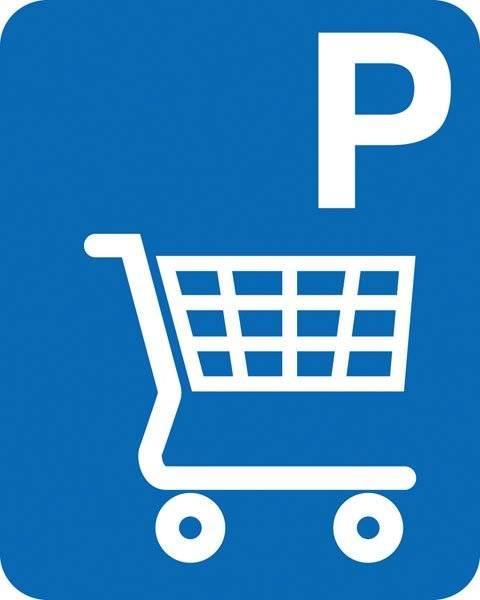 Parkerings skilt P indkøbsvogn skilt