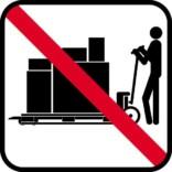 Løftevogn/palleløfter forbud- piktogram. skilt