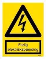Farlig elektrisk spænding. Skilt