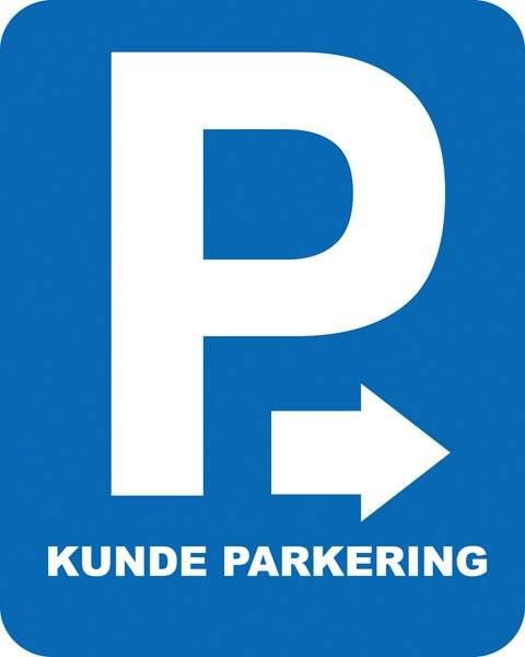 Parkerings skilt P Kunde parkering m pil højre. Parkeringsskilt
