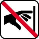 ikke røre - piktogram skilt