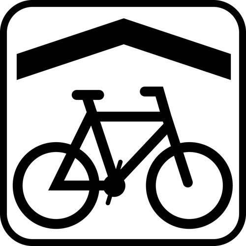 Cykel overdækning - piktogram skilt