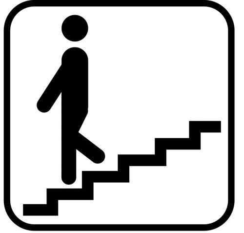 Trappe ned - piktogram skilt