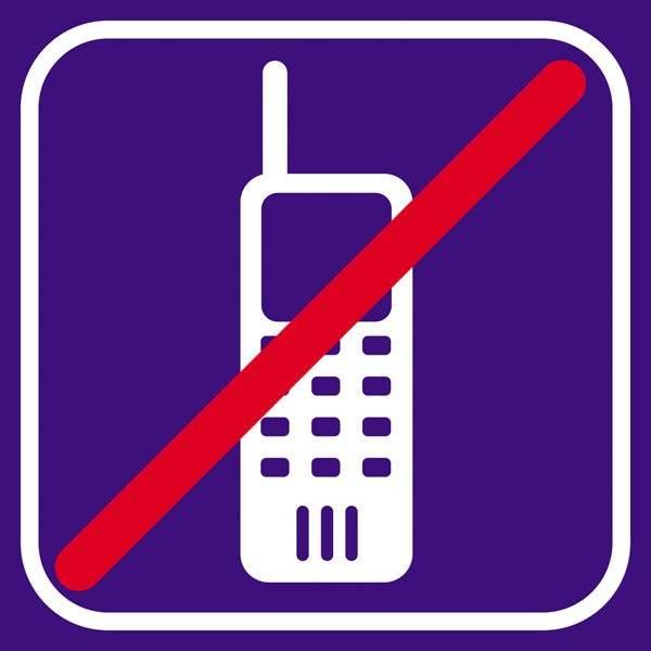 Mobiltlf Violet forbudt - piktogram skilt