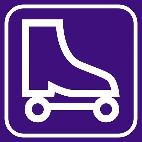 Rulleskøjte violet - piktogram skilt