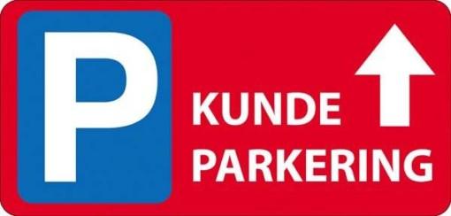 P Kundeparkering med pil frem Rødt