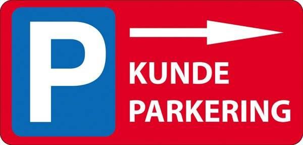 P Kundeparkering med pil Højre Rød skilt