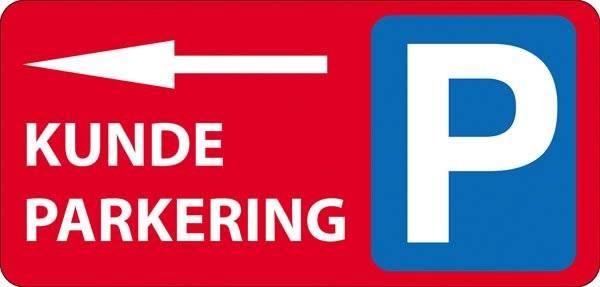 P Kundeparkering med pil Venstre Rød skilt