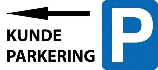 P Kundeparkering med pil Venstre skilt
