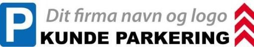 P Kundeparkering lige om hjørnet med firma logo skilt