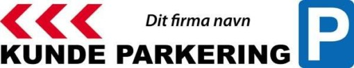 P Kundeparkering med pil Venstre med firma logo skilt