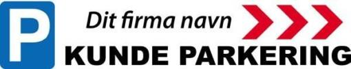 P Kundeparkering med pil Højre med firma logo skilt
