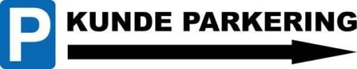 P Kundeparkering med pil højre skilt