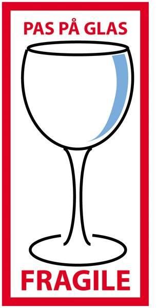 ark a 10 stk Etiket: Pas på glas