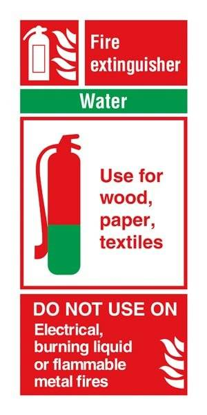 Fire Extinguisher Water: Brandskilt