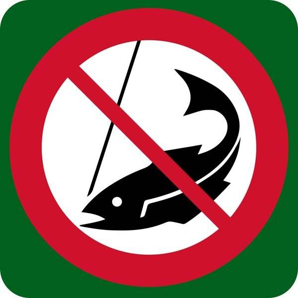 Fiskeri forbudt skilt