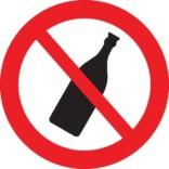 Flaske forbud skilt