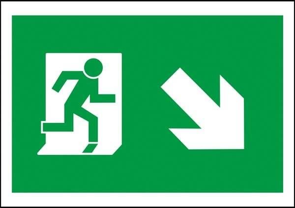 Flugt vej til højre ned Redningsskilt