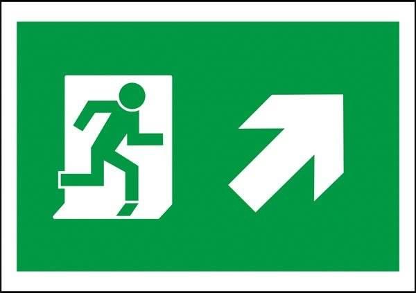 Flugt vej til højre op Redningsskilt