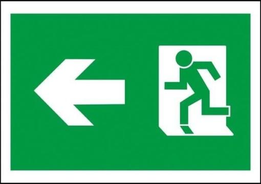 Flugt vej til venstre Redningsskilt