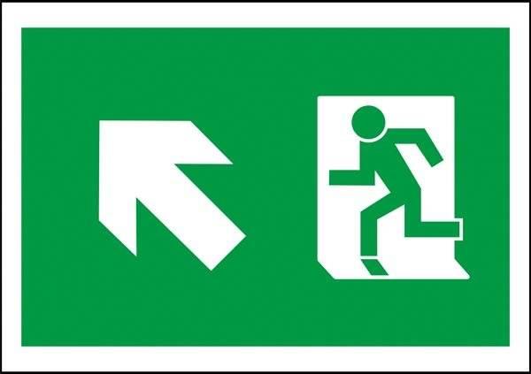Flugt vej til venstre op Redningsskilt